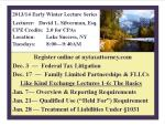 2013 Early winter lecture series postcard