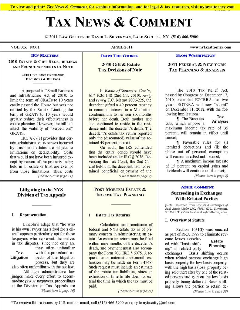 Tax News & Comment — April 2011 | Law Offices of David L