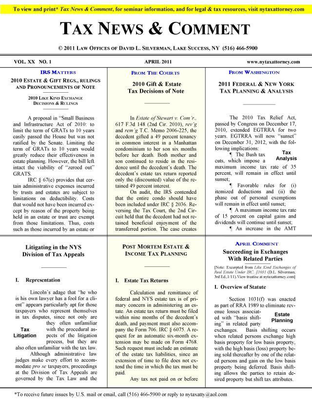 Tax News & Comment -- April 2011
