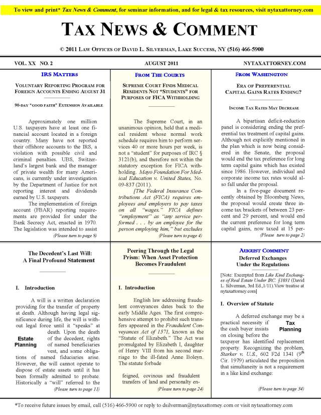 Tax News & Comment -- August 2011