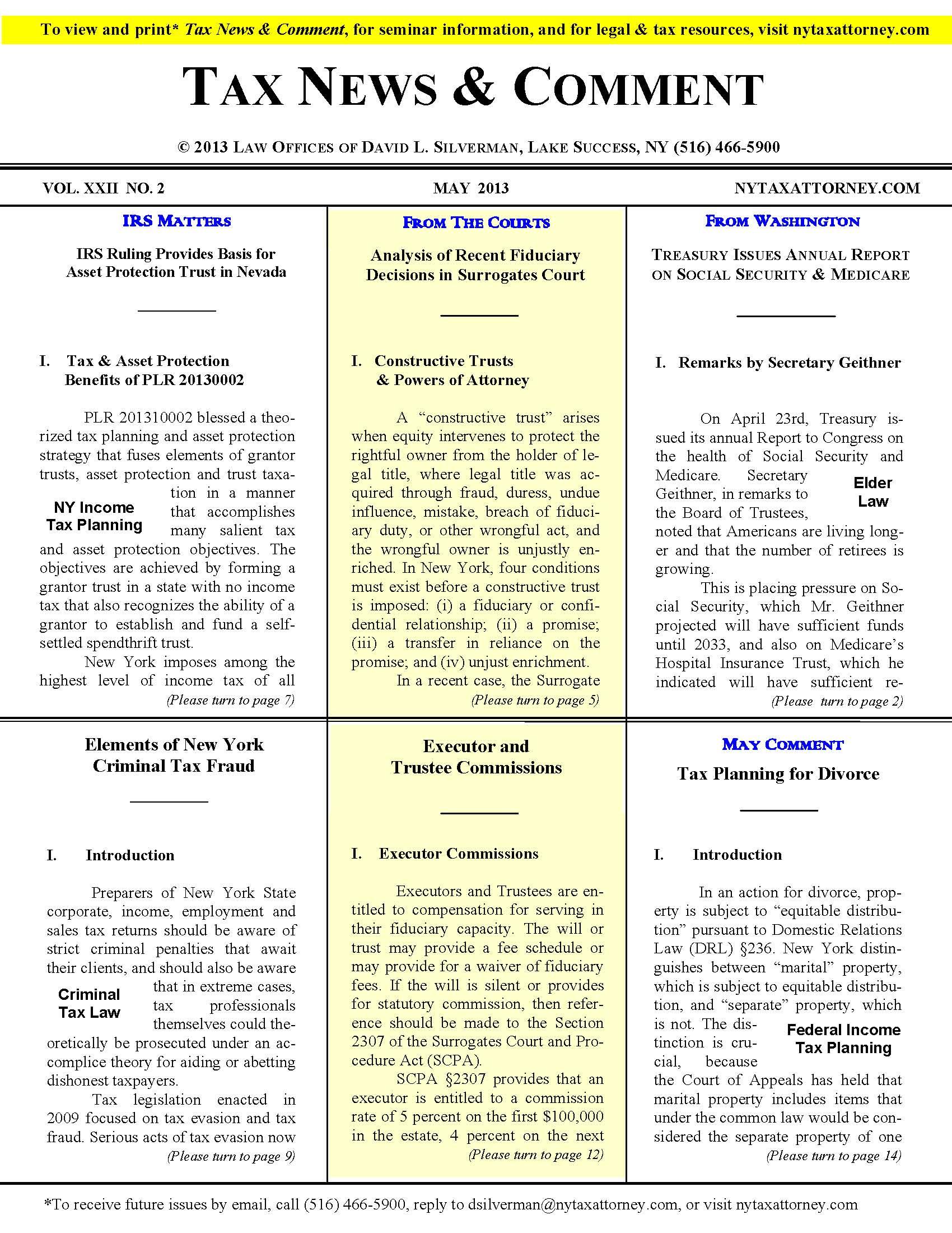 New York Tax Law 2013