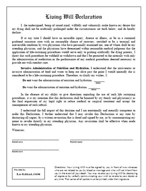 Living wills law offices of david l silverman for Free printable living will template