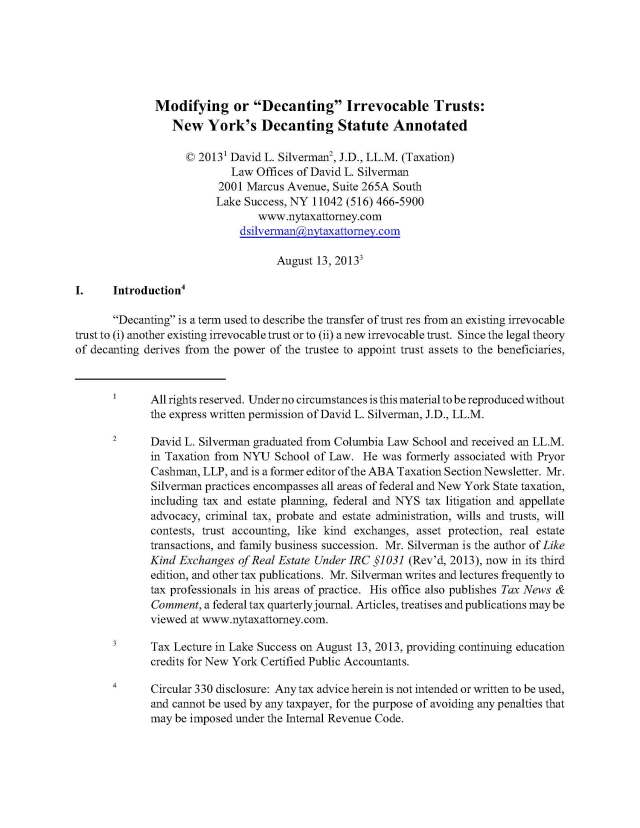 "Modifying or ""Decanting"" Irrevocable Trusts: New York's Decanting Statute Annotated"