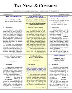 Tax News & Comment -- August 2014  View or Print